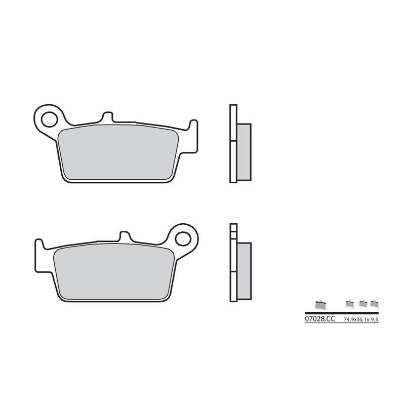 plaquettes de frein brembo 07028cc carbone c ramique arri re jokeriders. Black Bedroom Furniture Sets. Home Design Ideas