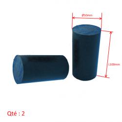 2x Tampons ou Sliders BRUT à tailler Ø50x100mm