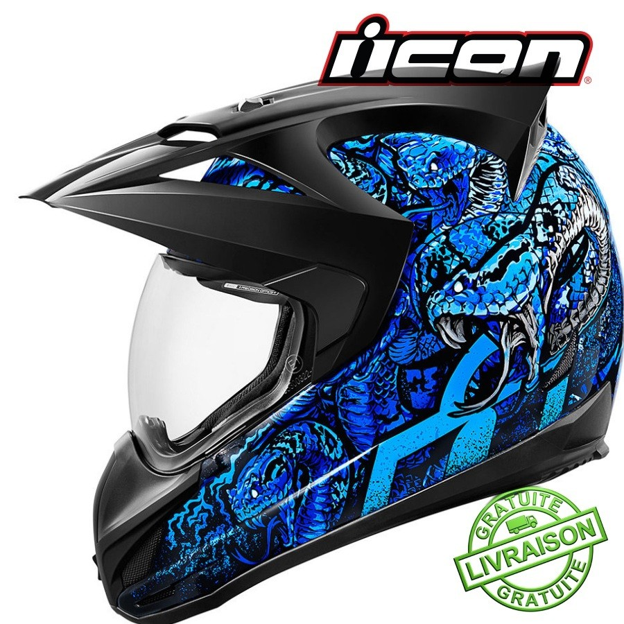 New Casque Icon Variant Cottonmouth Blue Jokeriders