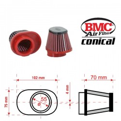 Filtre à Air conique BMC - ø50mm x 70mm - RIGHT SHIFTED