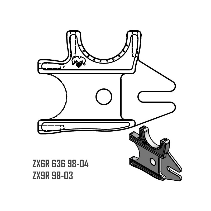 dual bracket - zx6r 636 98-04 - zx9r 98-03