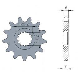 Pignon standard B1 12 dents chaine 420 moteurs AM6