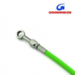 "Brake Line 65cm ( 25,6"" ) GREEN - Fittings INOX"